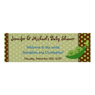Boy Twins Pea in a Pod Baby Shower Banner Poster