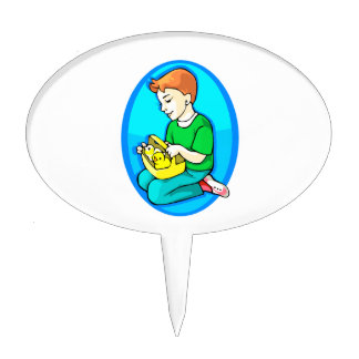 boy two chicks in basket blue oval cake topper