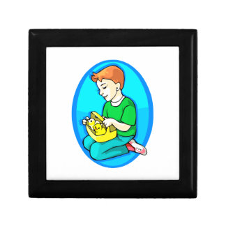 boy two chicks in basket blue oval gift box