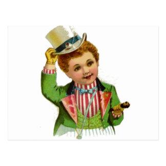 Boy Uncle Sam July 4th Vintage Postcard Art Post Card