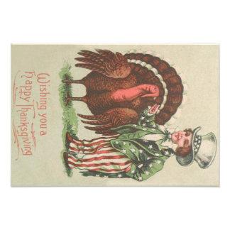 Boy Uncle Sam Thanksgiving Turkey Photo Print