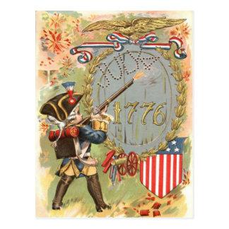 Boy US Flag Fireworks 4th of July Postcard
