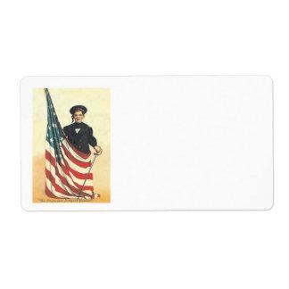 Boy US Flag Uniform Memorial Day Label