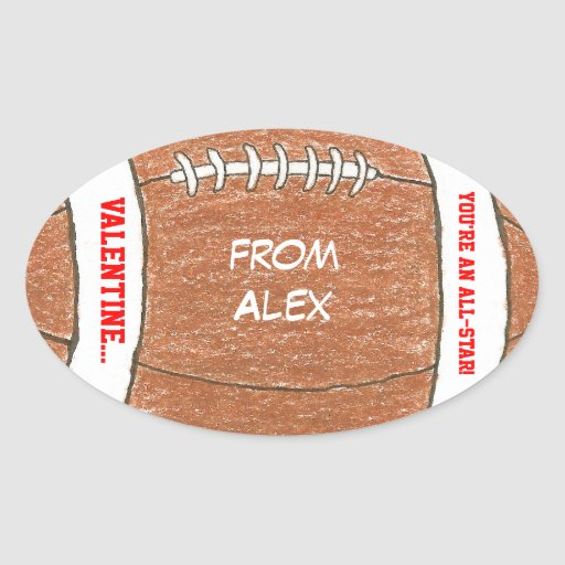 Boy valentine - football sticker with name