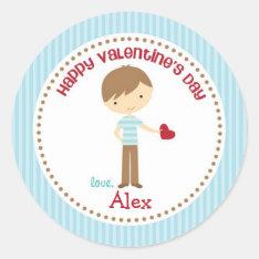 Boy Valentine Stickers (blue) - Children Kids at Zazzle