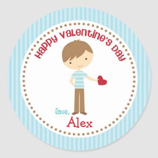Boy Valentine Stickers (Blue) - Children Kids
