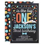 Boy Vintage Chalkboard First Birthday Invitation