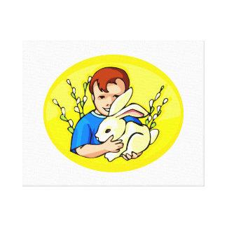 boy w rabbit yellow oval.png canvas print