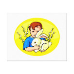 boy w rabbit yellow oval.png gallery wrap canvas