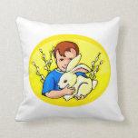 boy w rabbit yellow oval.png pillows