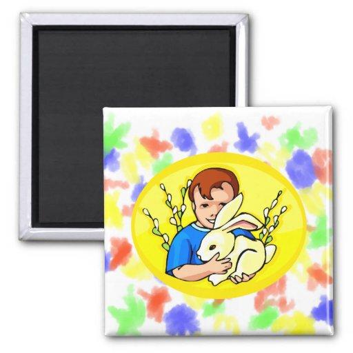 boy w rabbit yellow oval.png refrigerator magnet