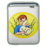 boy w rabbit yellow oval.png sleeve for iPads