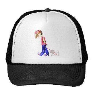 Boy walking cute dog digital art cap