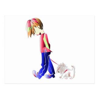 Boy walking cute dog digital art postcard