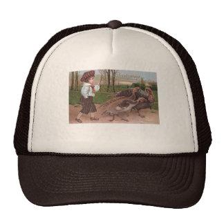 Boy Walking with Thanksgiving Turkeys Trucker Hat