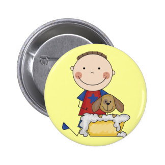 Boy Washing Dog Tshirts and Gifts Button
