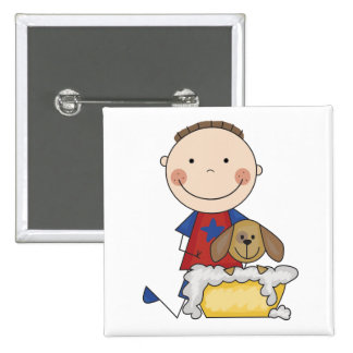 Boy Washing Dog Tshirts and Gifts Buttons