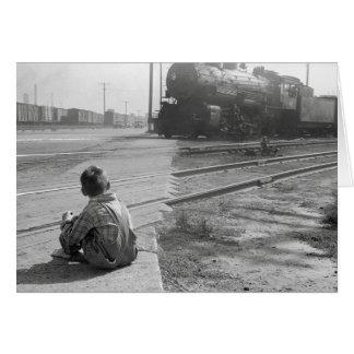 Boy Watching Trains, 1939 Card