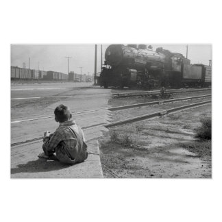 Boy Watching Trains, 1939. Vintage Photo Poster