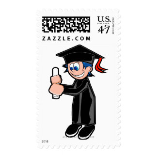 Boy wearing a graduation gown stamp