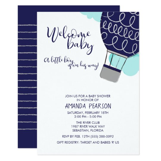 Boy Welcome Baby Hot Air Balloon Shower Invitation