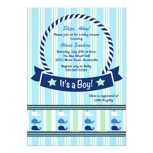 Boy - Whale Border Baby Shower Invitation