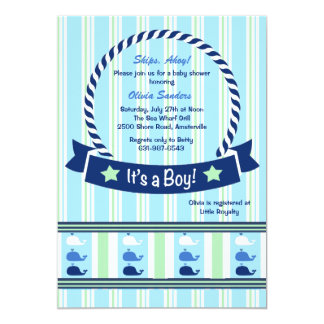 Boy - Whale Border Baby Shower Invitation