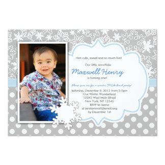 "Boy Winter Wonderland Birthday Party Invitation 5"" X 7"" Invitation Card"