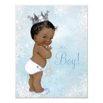 Boy Winter Wonderland Snowflake Ethnic Baby Shower Card