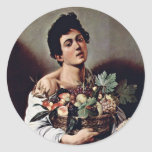 Boy With A Basket Of Fruit By Michelangelo Merisi Classic Round Sticker