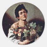 Boy With A Basket Of Fruit By Michelangelo Merisi Round Sticker