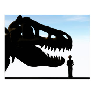 Boy  with a dinosaur skull postcard