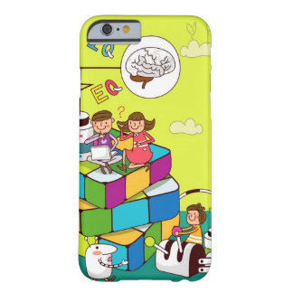 Boy with a girl sitting on a Rubik's cube puzzle Barely There iPhone 6 Case