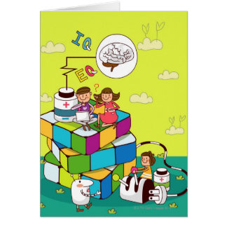 Boy with a girl sitting on a Rubik's cube puzzle Greeting Card