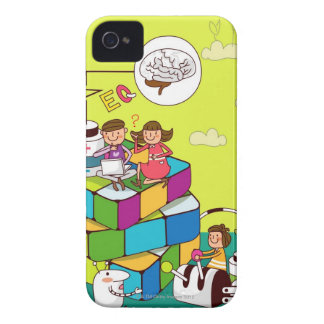 Boy with a girl sitting on a Rubik's cube puzzle Case-Mate iPhone 4 Cases