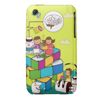 Boy with a girl sitting on a Rubik's cube puzzle iPhone 3 Cases