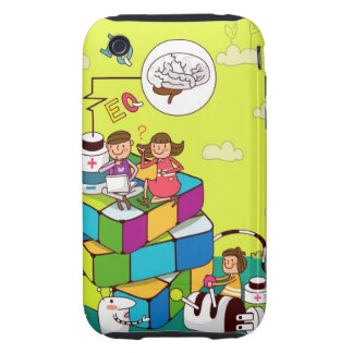 Boy with a girl sitting on a Rubik's cube puzzle iPhone 3 Tough Case