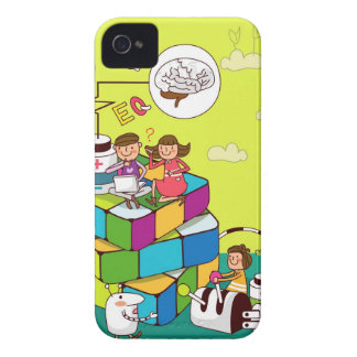 Boy with a girl sitting on a Rubik's cube puzzle iPhone 4 Case