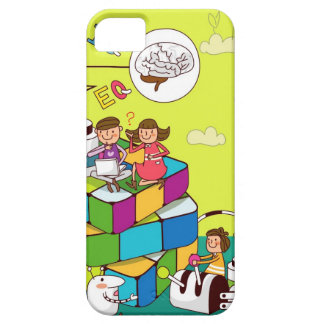 Boy with a girl sitting on a Rubik's cube puzzle iPhone SE/5/5s Case