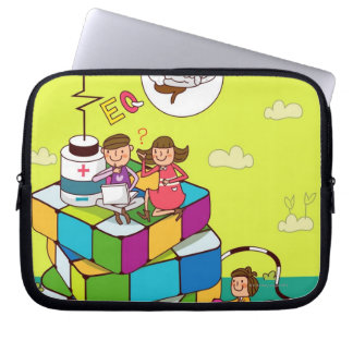Boy with a girl sitting on a Rubik's cube puzzle Laptop Sleeves