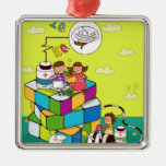 Boy with a girl sitting on a Rubik's cube puzzle Square Metal Christmas Ornament