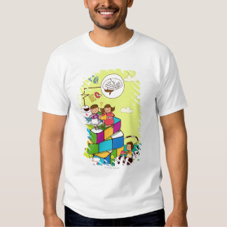 Boy with a girl sitting on a Rubik's cube puzzle T Shirt