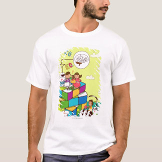 Boy with a girl sitting on a Rubik's cube puzzle T-Shirt