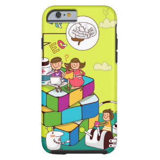 Boy with a girl sitting on a Rubik's cube puzzle Tough iPhone 6 Case