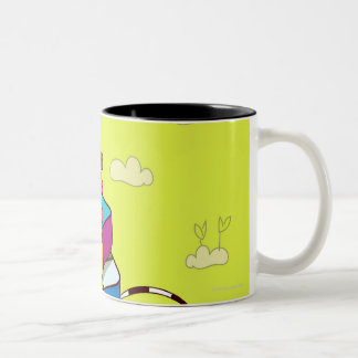 Boy with a girl sitting on a Rubik's cube puzzle Two-Tone Coffee Mug