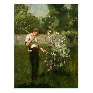 Boy with a Grass Rake Postcard
