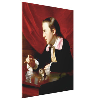 Boy with a Squirrel Stretched Canvas Print