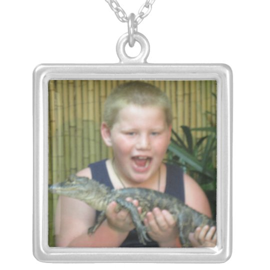 Boy with Alligator Silver Plated Necklace