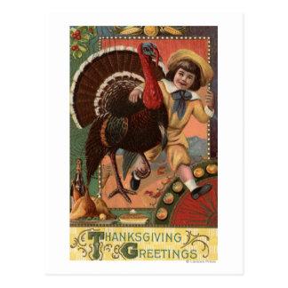 Boy with Arm around a Turkey Postcard