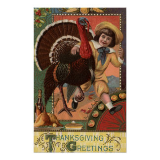 Boy with Arm around a Turkey Poster